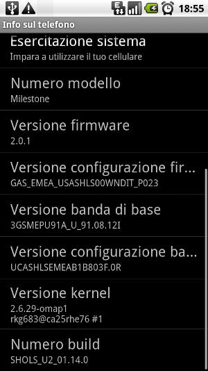 Motorola Milestone con Android 2.0.1